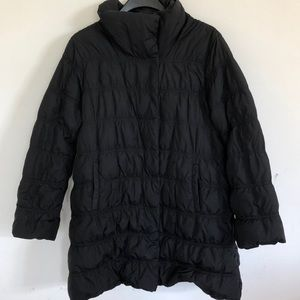 Eileen Fisher black puffer down coat large